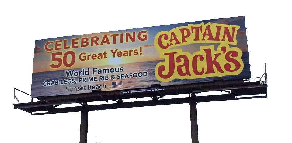 outdoor billboard with Captain Jack restaurant ad