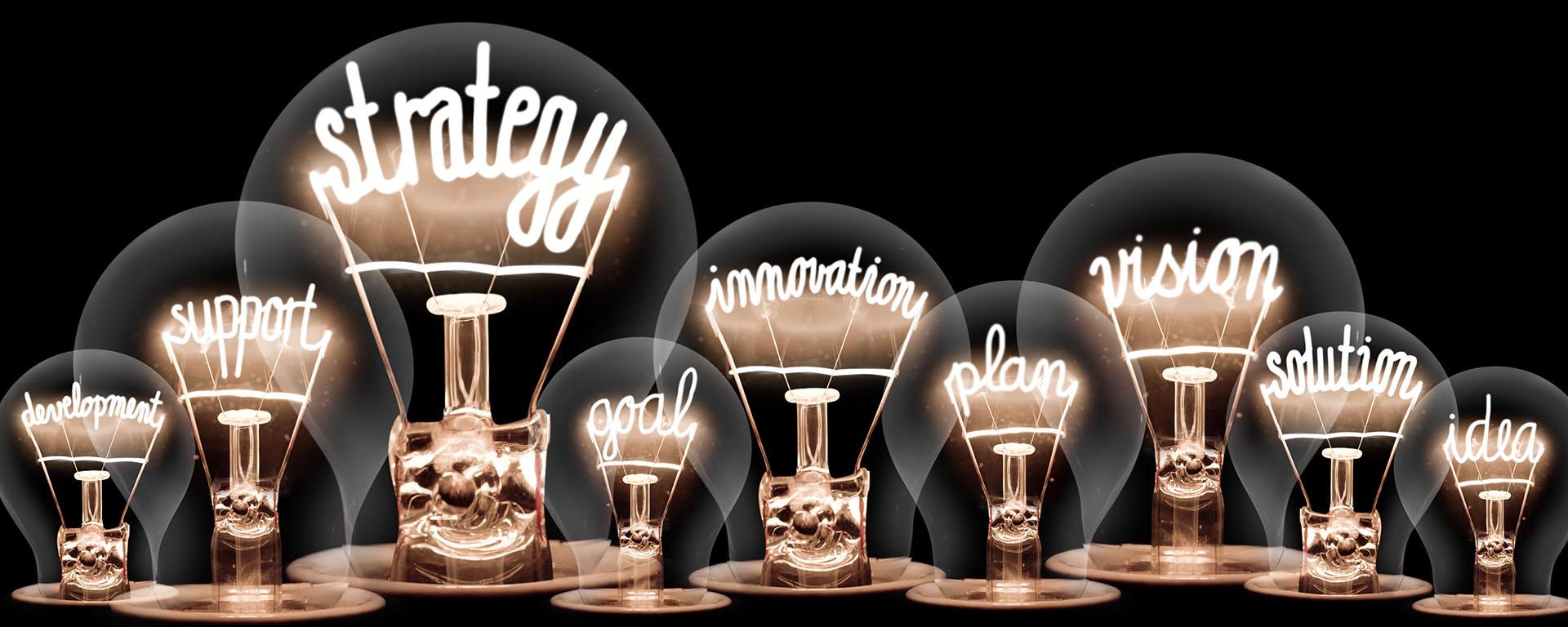 Lightbulbs with Creative Words for Innovation