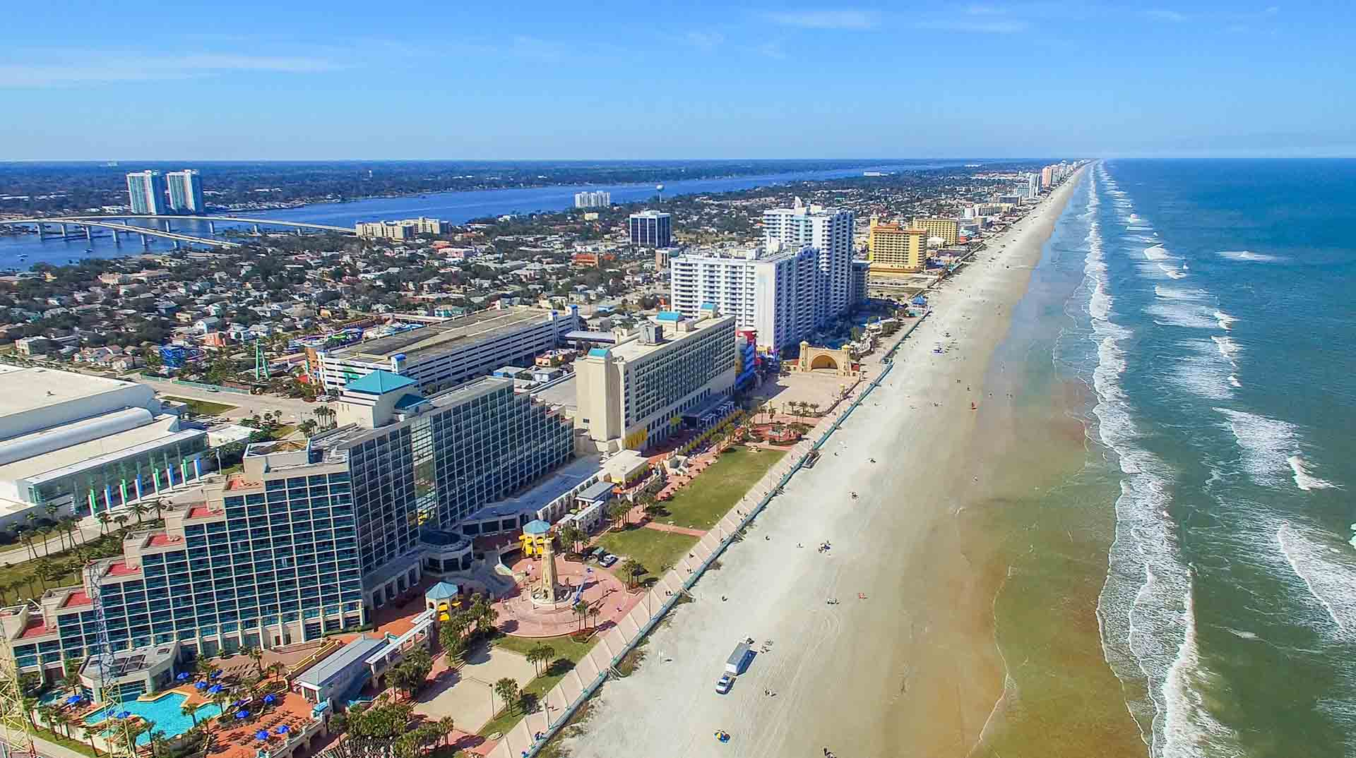 Arial view of Okaloosa County beaches