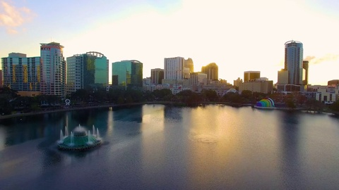 picture of downtown Orlando sunset