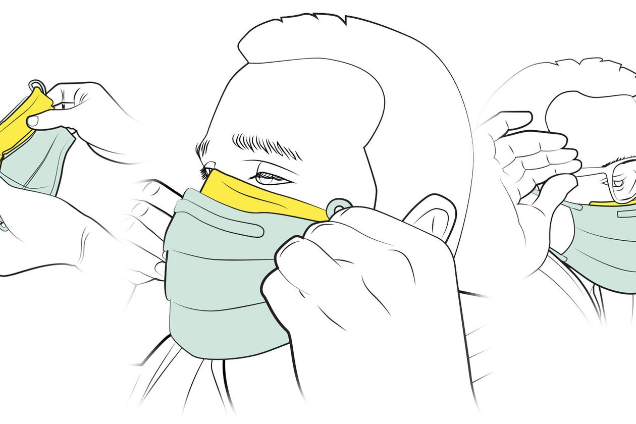 Graphic of the face of a person putting on a mask