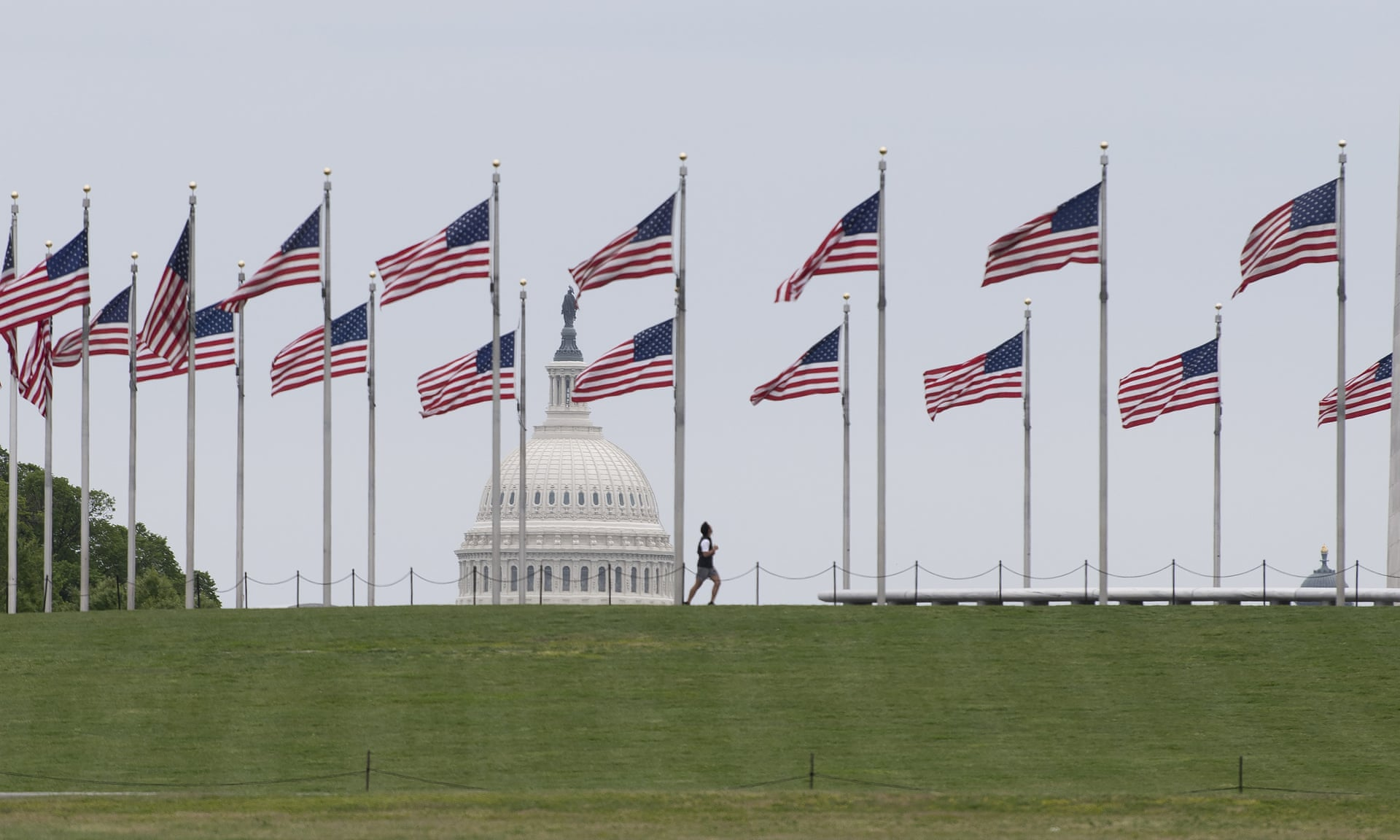 US Flags in front of the Capital