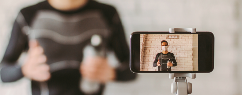 Man taking selfie with smart phone