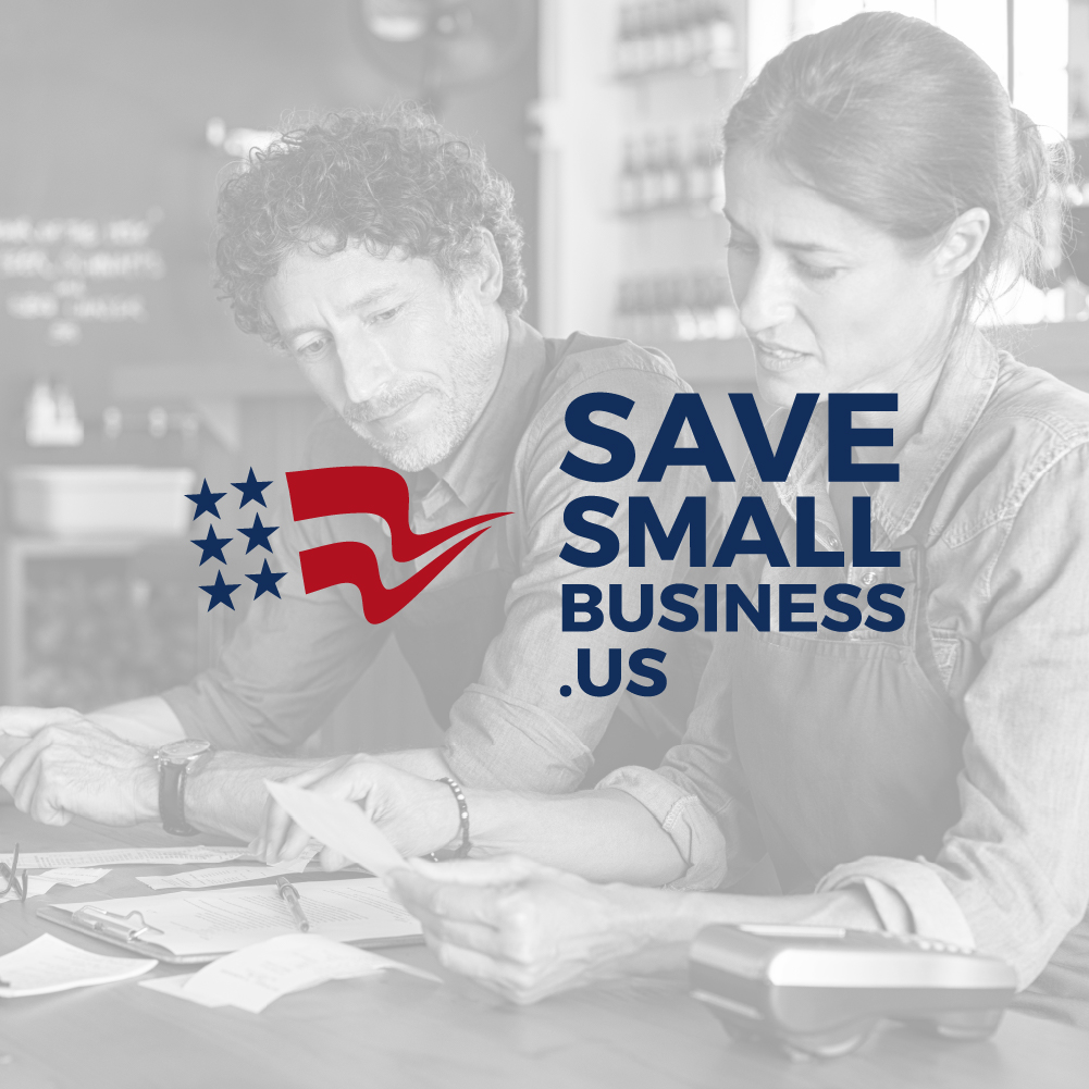 Black and white image of a man and woman looking at receipts. Save Small Business logo overlayed on image