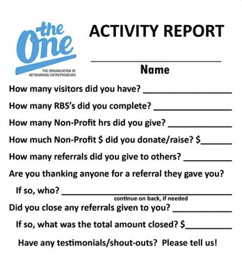 Photo of Activity Report Sheets