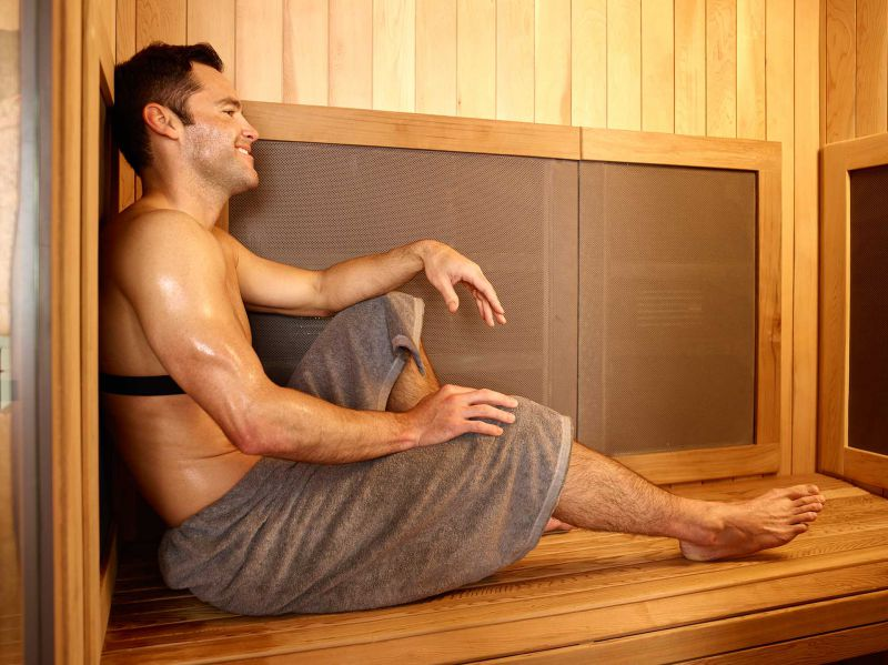 Gentlemen using the Infrared Sauna