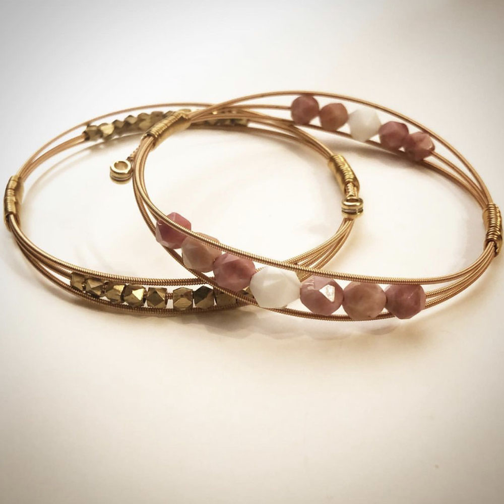 Gold Guitar String Bangle with Pink White Beads