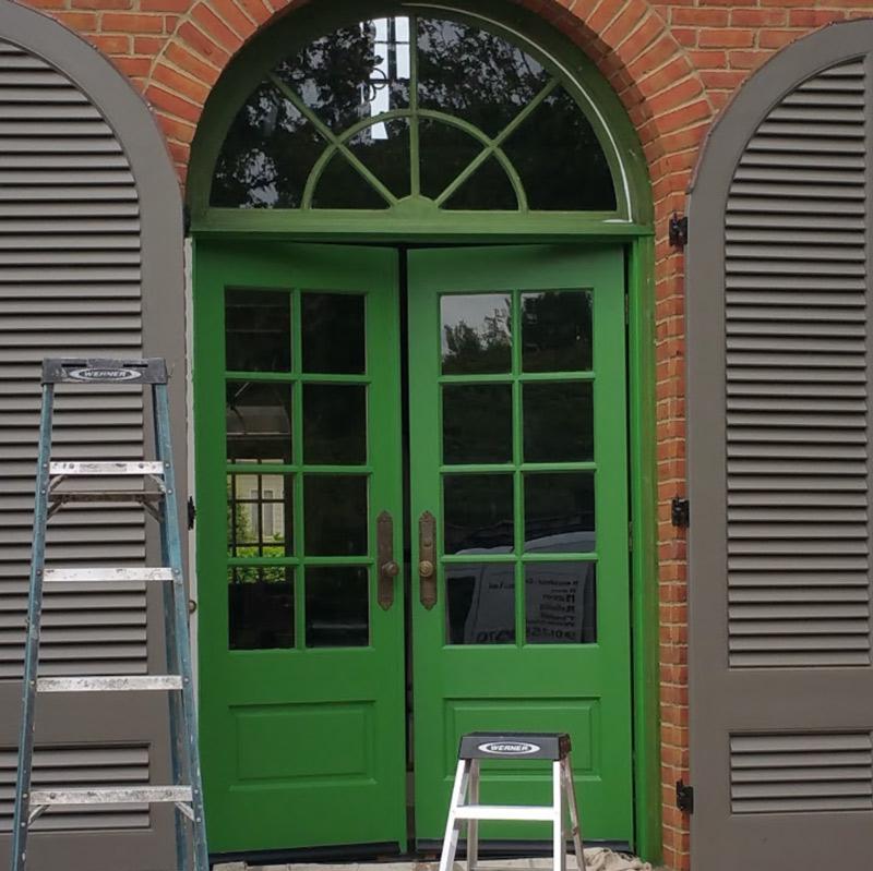 Green, Door, Wood, Glass, Entry, Shutters