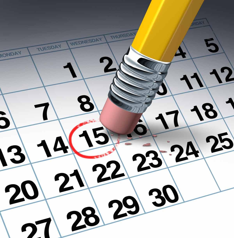 Pencil Erasing date on calendar
