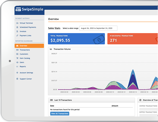 Image of the SwipeSimple Virtual Terminal Dashboard