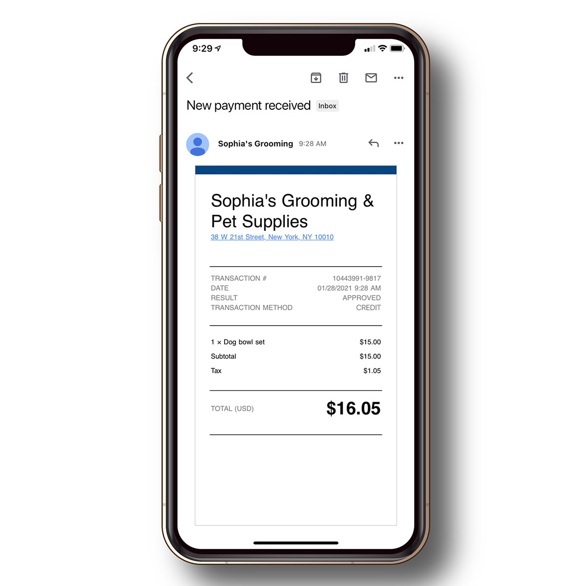 Email or text payment receipts