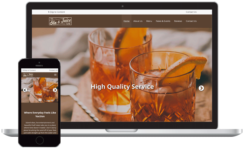 Gin and Juice Bar Website Theme