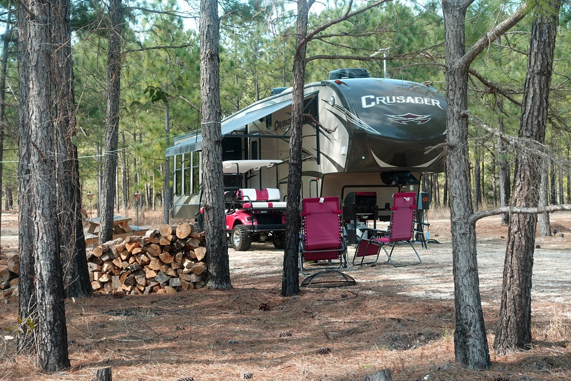 RV Campsite with Golf Cart