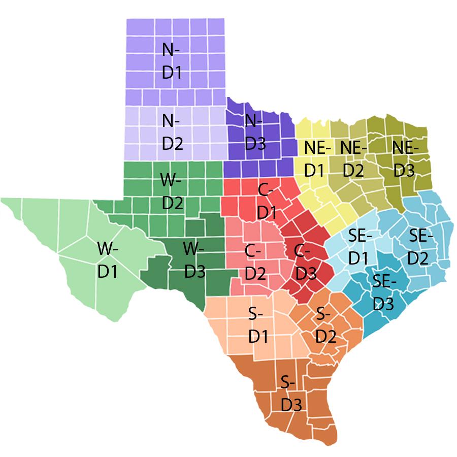 Texas Regional / District Codes